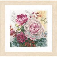 Pink Rose on Linen Cross Stitch Kit by Lanarte