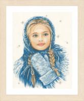 Winter Girl Cross Stitch Kit by Lanarte