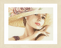 Elegant Lady With Hat Cross Stitch Kit by Lanarte