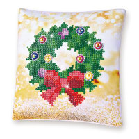 Christmas Wreath Pillow Craft Kit By Diamond Dotz