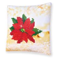 Poinsettia Pillow Craft Kit By Diamond Dotz