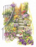 Flower Stairs Cross Stitch Kit by Lanarte