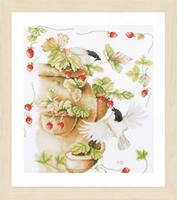 Strawberries and birds Cross Stitch Kit by Lanarte