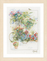 Flowers and Bicycle Cross Stitch Kit by Lanarte