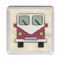 Pink Camper Van Coaster Cross Stitch kit by Textile Heritage