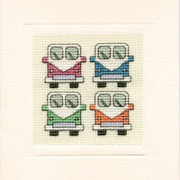 Camper Van Mini Card Cross Stitch Kit By Textile Heritage