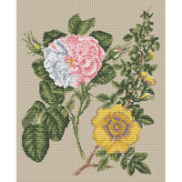 Damask Rose & Yellow Rose by Stark Cross Stitch Kit