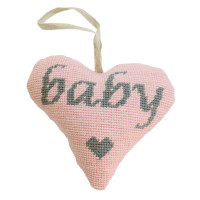 Baby Girl Lavender Heart (Grey on Pink) Tapestry Kit