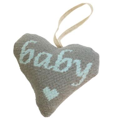 TAPESTRY KIT GREY ON BLUE BABY BOY LAVENDER HEART