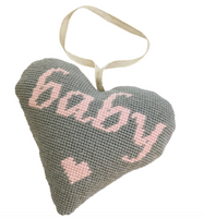 Baby Girl Lavender Heart (Pink on Grey) Tapestry Kit