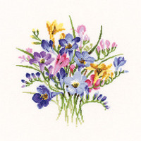 Freesia Posy Cross Stitch Kit By Heritage
