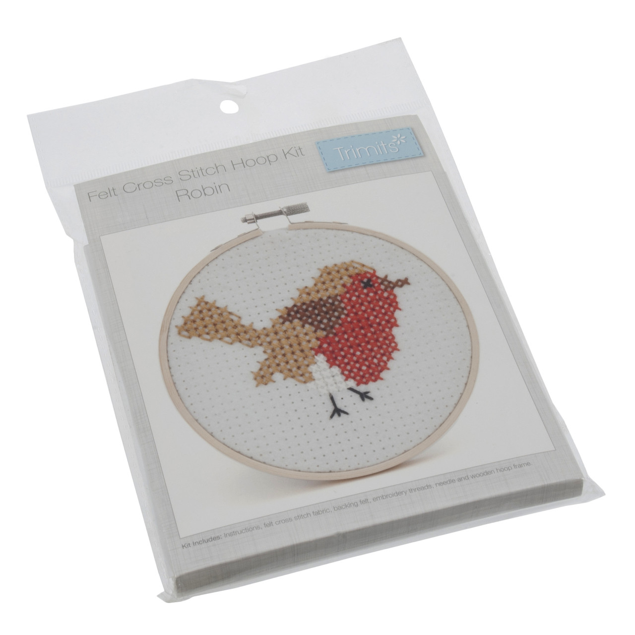 Beginners Counted Cross Stitch Starter Kit Robin Cross Stitch Kit With Hoop