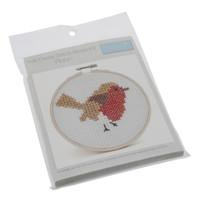 Cross Stitch Kit with Hoop: Robin