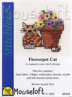 Flowerpot Cat Cross Stitch Kit by Mouse Loft