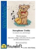 Saxophone Teddy Cross Stitch Kit by Mouse Loft