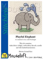 Playful Elephant Cross Stitch Kit by Mouse Loft