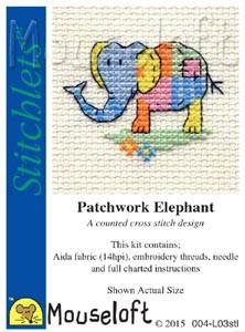 Patchwork Elephant Cross Stitch Kit by Mouse Loft
