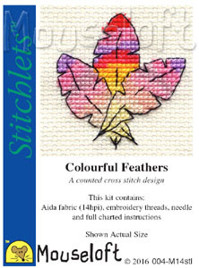 Colourful Feathers Cross Stitch Kit by Mouse Loft