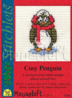Cosy Penguin Cross Stitch Kit by Mouse Loft