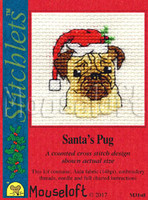 Santa's Pug Cross Stitch Kit by Mouse Loft