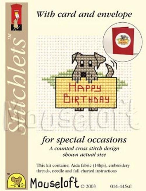 Mouseloft cross stitchlet card Happy Retirement