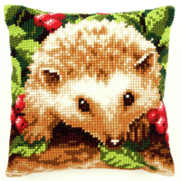 Hedgehog with Berries Chunky Cross Stitch Cushion