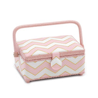 Pearlised Blush  Small Rectangular Sewing Box By Hobby Gift