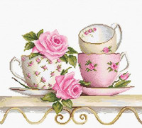Stack of Teacups Cross Stitch Kit By Luca S