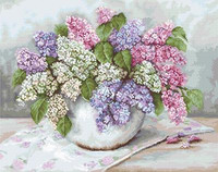 Lilacs on Aida Cross Stitch Kit By Luca S