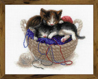 Kittens in a Basket Cross Stitch Kit By Riolis