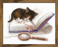 Kitten on a Book Cross Stitch Kit By Riolis