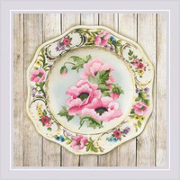 Anemone Plate Satin Stitch Cross Stitch Kit By Riolis