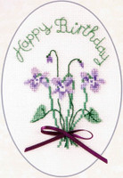 Violets Cross Stitch Birthday Card Kit by Derwentwater