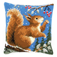 Squirrel In Winter  Chunky Cross Stitch Cushion Kit By Vervaco