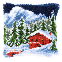 Winter Mountain Latch Hook Cushion Kit By Vervaco