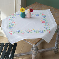 Pink & Blue Flowers Emboidery Table Cloth Kit By Vervaco