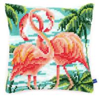 Flamingos Chunky Cross Stitch Cushion Kit By Vervaco