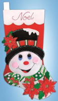 Poinsettia Snowman Stocking FELT kit By Design Works