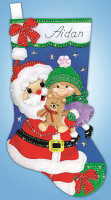Santa with Girl Stocking FELT kit By Design Works