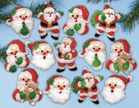 Joyful Santa Ornaments FELT kit By Design Works