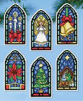 Stained Glass Ornaments Cross Stitch Kit By Design Works