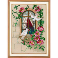 Love Sparrows Red Cross Stitch Kit by Oven