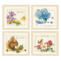 Four Seasons Cross Stitch Kit set By Lanarte