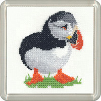 Puffin Cross Stitch Coaster Kit By Heritage Crafts