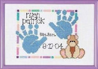 Baby Hand prints Birth Announcement Cross Stitch Kit by Janlynn