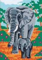 Elephant & Calf CANVAS By Grafitec