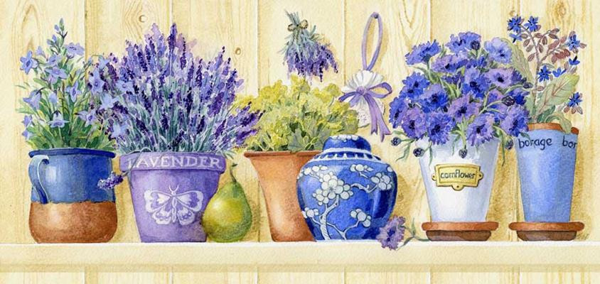 Lavender Geisha Grafitec Printed Tapestry//Needlepoint Canvas