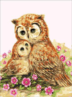 Mother & Baby Owl CANVAS By Grafitec