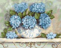 Hydrangeas on Aida Cross Stitch Kit By Luca S