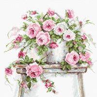 Roses on a Stool on Aida Cross Stitch Kit By Luca S
